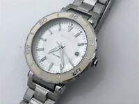 Fossil Ladies Watch Silver White Tone Date Calendar Analog Wrist Watch WR 10ATM