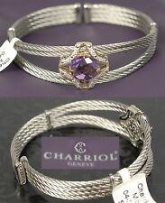 $1475 CHARRIOL Diamond 18K Gold Silver Cables Bracelet Bangle Women Holiday Gift