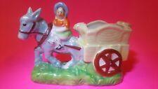 Glazed Ceramic Vintage Women Riding Donkey Pulling Cart-Planter/Toothpick Holder
