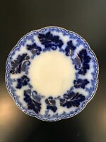 """JOHNSON BROTHERS NORMANDY FLOW BLUE 8"""" Salad Plate Gold Accent Excellent!"""