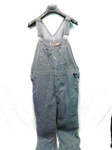 Dickies 40 x 32 Blue White Hickory Striped Bib Overalls Conductor Cotton Mens