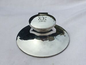 EDWARDIAN SOLID STERLING SILVER CAPSTAN INKWELL WITH GLASS LINER B/HAM 1905