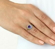 Real 14k gold halo amethyst and diamond vintage style halo royal engagement ring