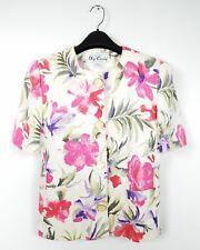 Oleg Cassini Vintage Floral Jacket Size 8 Short Sleeve 80's 90s Structured