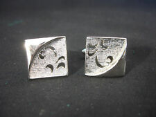 Old Vtg Silver Tone Swank Square Decorative Men's Cufflinks Jewelry