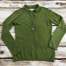 G.H. Bass & CO. Women's Green V Neck Button Sweater Size Small Long Sleeve