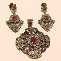 Victorian Emerald Ruby Chandelier Earrings Pendant 925 Sterling Silver Jewelry