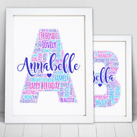 Personalised Word Art Letter Name Initial Picture Print Birthday Frame Gift