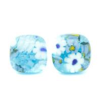 Murano Glass Stud Earrings Blue White Yellow Millefiori Handmade Venice