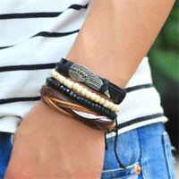 4 Bracelets Femme,Homme,Aile Ange,Cuir Noir,Marron,Bois Santal,Redimensionnable
