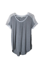 Anthropologie meadow rue gray lace shoulder top women's size medium