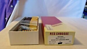 HO Scale Red Caboose, Meat Reefer Box Car, Sioux City Dressed Beef, #123 BNOS