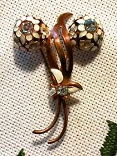 Unsigned Vintage 1920 -1930's Gold Tone Rhinestone Flower Brooch