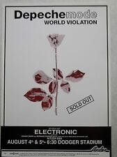Depeche Mode Original World Violation Tour 13x19 Concert Poster Dodger Stadium