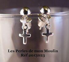 1 Paire Boucles d'Oreille Mini Croix / 2013023