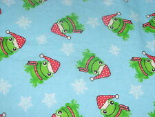 Handcrafted flannel Crib Sheet/, CHRISTMAS/ SANTA/  FROGS/ Blue/ Neutral
