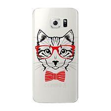 Coque gel souple incassable motif fantaisie pr Galaxy S6 EDGE (Chat Noeud rouge)