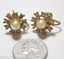 Vintage Screw Earrings, Large Faux Pearl in Rhinestone Ring, Floral-Look, 3/4""