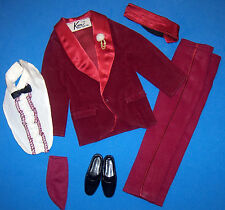 Vintage KEN & BRAD THE NIGHT SCENE #1496 Burgundy Tuxedo Near Complete Barbie