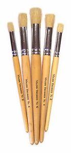 Pack 5 Hog Bristle Short Handle Brush Set Stencil Brushes Sizes 2 4 & 6 MB 569-5