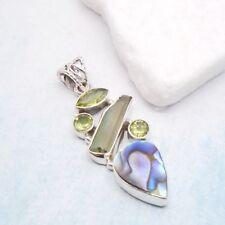 Abalone Muschel Turmalin Peridot Design Amulett Anhänger 925 Sterling Silber neu