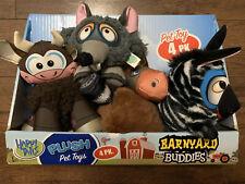 New listing Happy Tails Barnyard Buddies Dog Toys, 4-count Plush Squeak Chew