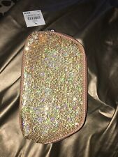 NEW W/Tags Nine West Gold Glitter Sequin Cosmetic Pouch Bag Can't Stop Shopper