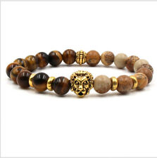 Charm Men's Lion Head Natural Tiger Eye Beads Lava Agate Stone Beaded Bracelets