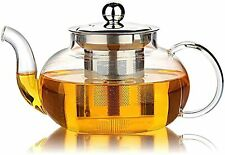 Glass Tea Infuser With Stainless Steel Infuser & Lid Loose Leaf Filter Teapot