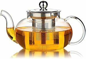 Glass Tea Teapot With Stainless Steel Infuser & Lid Loose Leaf Filter Infuser