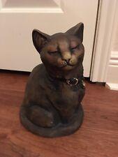 Brown Closed Eye Cat Figurine Resin 9� The Stone Bunny Inc Garden Statue