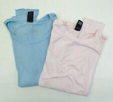 Alternative Vintage Soft Pastel Blue & Pink Long Sleeve T Shirt Top Lot of 2 S