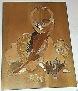 Persian Marquetry Inlaid / Moaraq-Kari Art Handmade 41x31cm Wooden Wall Hanging