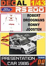 DECAL 1/43 FORD RS200 BELGA PRESENTATION CAR R.DROOGMANS 1986 (03)