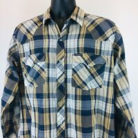 Dickies Long Sleeve Pearl Snap Western Plaid Shirt Rockabilly Men's Size Large L