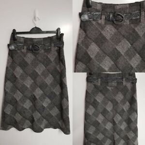 MARKS & SPENCER M&S GREY BLACK CHECK TWEED A LINE MIDI SKIRT SIZE 12 WINTER