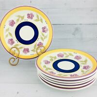 Gibson Design Smooth Stoneware Blue Band Lavender Salad Lunch  Plates Set 6