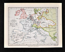 1892 Map War of Spanish Succession Europe May 1702 France Spain England Allies