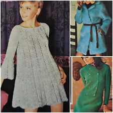 1960s A Line Dress Double Breasted Lace Overcoat Knitting Pattern Villawool 2