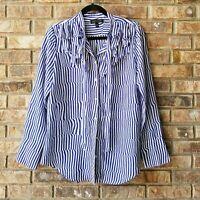 Banana Republic Women's Ruffle Button Down Blouse Shirt Top Blue White Sz Medium