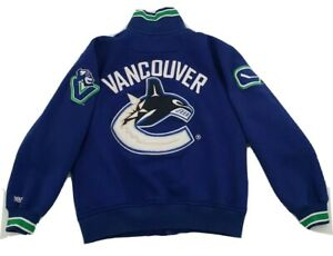Vancouver Canucks NHL EMBROIDERED Full Zip Blue Green Sweatshirt Adult Size S/P