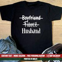 Boyfriend Fiance Husband T-shirt Valentines Day Married Just Wedding Gift Top