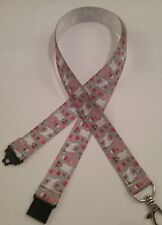 Jack Russell terrier dog gray ribbon lanyard ID badge holder handmade gift