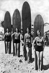 Vintage print surfing surf woman beach  old photo poster canvas framed