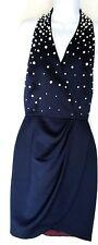 MORTON MYLES Retro Halter Dress SZ 6 Pearl Studded Navy Silky Vintage 80's