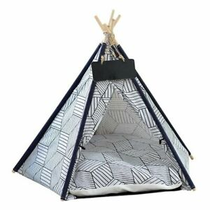 Pet Dog Cat Tent House Bed Canvas Puppy Cute House Portable Washable Cushion