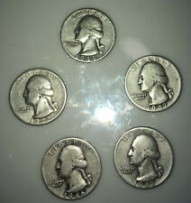 1940's 25C Washington Quarter 90 percent Silver Sold as a Lot of 5