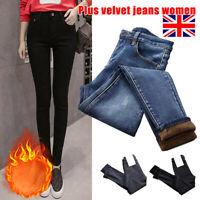 Womens Lady Winter Warm Fleece Lined Stretch Denim Jeans Thermal Winter Leggings