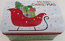 Christmas Holiday Cookie Tins Hinged Lids Metal Gift Boxes, Select: Size/Design
