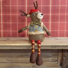 Sitting Reindeer with Wooden Legs Christmas Decoration